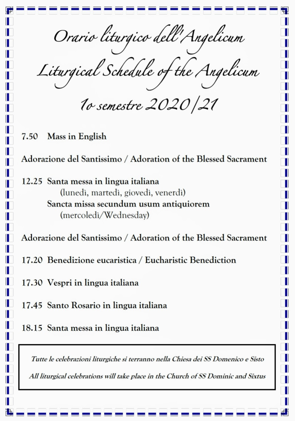 Liturgical Plan for the Fall Semester 2020 Angelicum